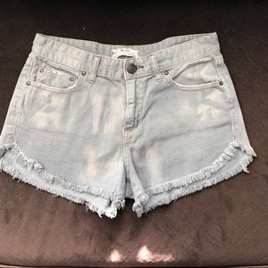 FREE PEOPLE Frayed Hem Distressed Denim Shorts